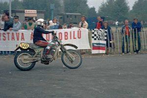 Europameister Harald Sturm mit der MZ GT 250 bei den Six Days in Povazska Bystrica, CSSR, 1982
