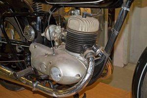 MZ RT 250 Prototyp 1954, Detail Motor, im Museum für sächsische Fahrzeuge, Chemnitz
