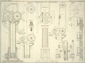 Konstruktionszeichnung eines atmosphärischen Motors